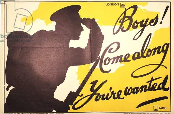 Boys! Come along, You're Wanted, 1914-18 (colour litho)