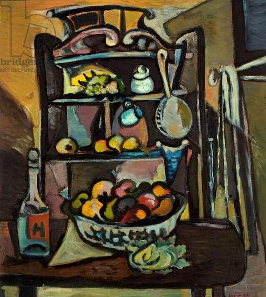The Kitchen Dresser (oil on canvas)