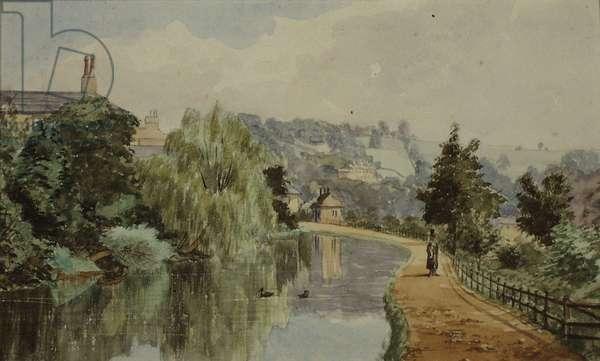 The Canal near Sydney Buildings, Bath, 1869 (pen & ink with w/c on paper)
