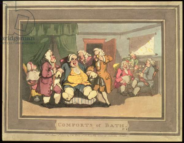The Doctors, plate 1 from 'Comforts of Bath', 1798 (hand-coloured engraving)