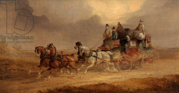 The Leeds to London Coach (oil on canvas)
