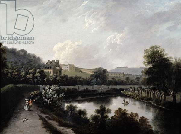 The Royal Crescent, Bath from the Avon (oil on canvas)