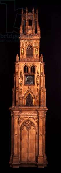 The 'Lichfield Clock', a musical altar-clock, view of the surrounding wooden case in the form of a church tower (photo) (see also 112288)