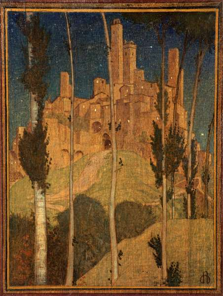 San Gimignano (tempera on panel)