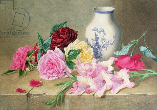 Still Life of Roses and Gladioli
