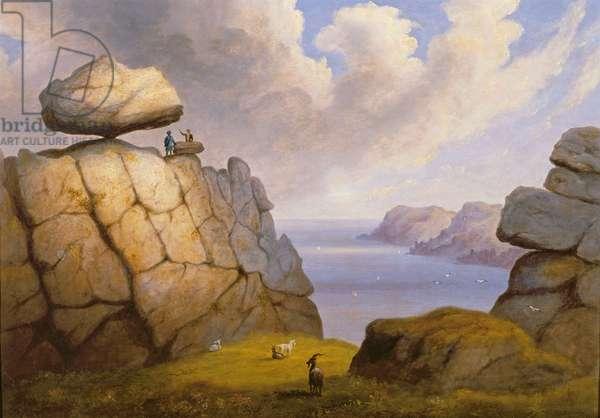 A Rocking Stone on a Coastal Cliff, 1833 (oil on canvas)