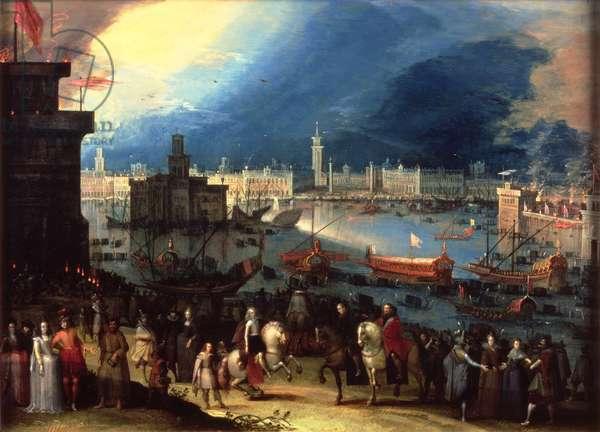 The Entry of a Nobleman, possibly Cosimo de Medici (1519-74) into Venice (oil on copper)