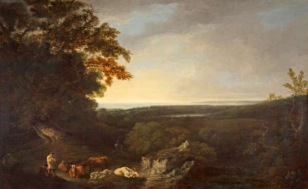 Pevensey Bay and Battle Abbey, 1814 (oil on canvas)