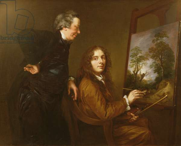 Self Portrait with his Preceptor Charles Spackman (oil on canvas)