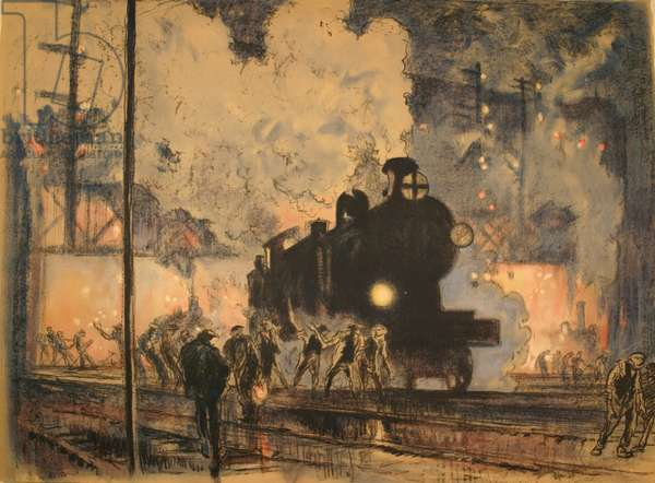 The Railway Engine (colour litho)