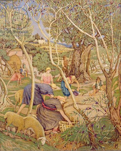 Olive Gatherers (tempera on board)