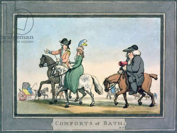 The Morning Ride, plate 5 from 'Comforts of Bath', 1798 (hand-coloured engraving)