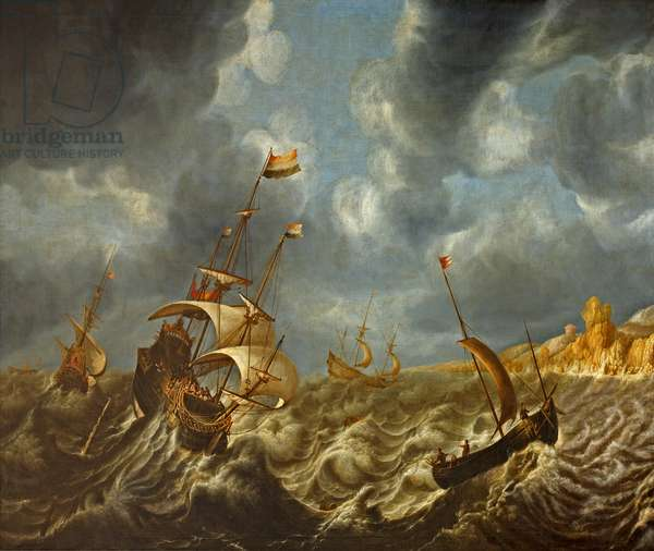 Shipping in a Storm off the Coast of Norway, c.1700 (oil on canvas)
