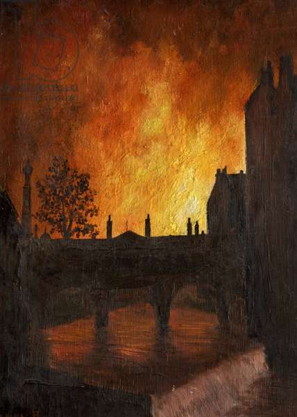 Fires seen over Pulteney Bridge during the Blitz, 1942 (oil on canvas)