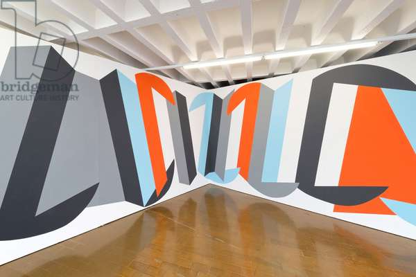 Jiving in Distressed-Geometry, wall painting in the Kunstraum Baden, 2015 (photo)