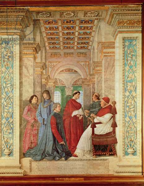 Pope Sixtus IV installs Bartolommeo Platina as Director of the Vatican Library, c. 1477 (fresco transferred to canvas)