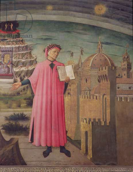 Dante reading from the 'Divine Comedy' (tempera on panel) (detail of 42355)