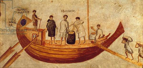 Unloading grain from the ship, Isis Giminiana, from Ostia, 2nd-3rd century (fresco)