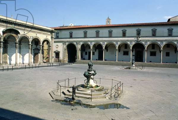 View of the loggia of the Ospedale degli Innocenti, built c.1420 (photo)