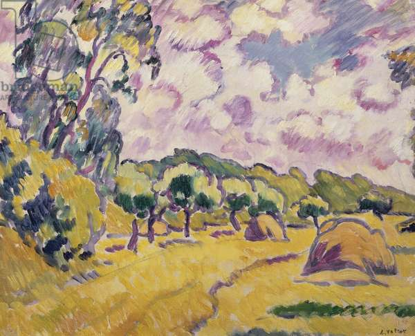 Landscape with Haystacks (oil on canvas)