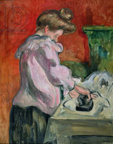 A Woman Ironing (oil on canvas)