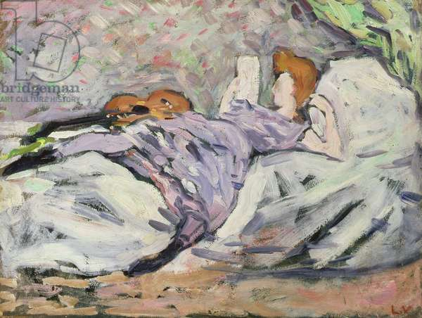 Reclining woman reading (oil on canvas)