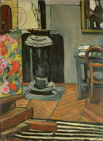 The stove in the studio, 1920 (oil on canvas)
