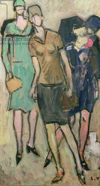 Figure and young girl in a pull-over, 1927 (oil on card)