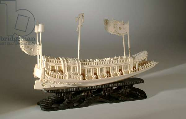 Hand-carved model of a Chinese emperor's pleasure barge, c.1900 (ivory)