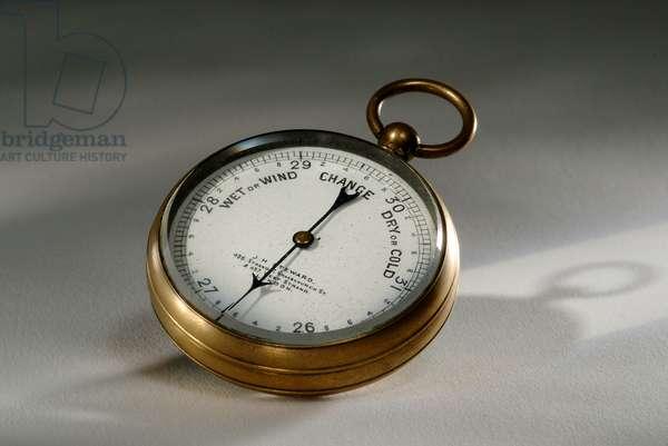 Pocket aneroid barometer, made by J.H. Steward, London