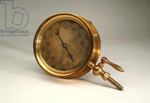 Steam gauge from the HBC Sidewheeler 'Enterprise' (metal)