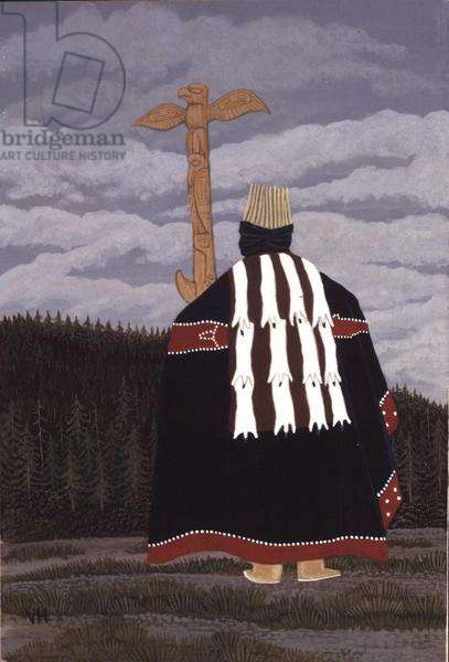 Haisla Dancer and Totem Pole (back view), Gitamaat Village, B.C. Canada