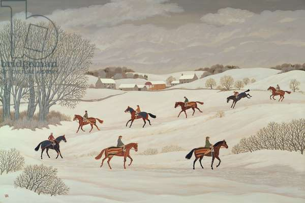 Racehorses in the Snow