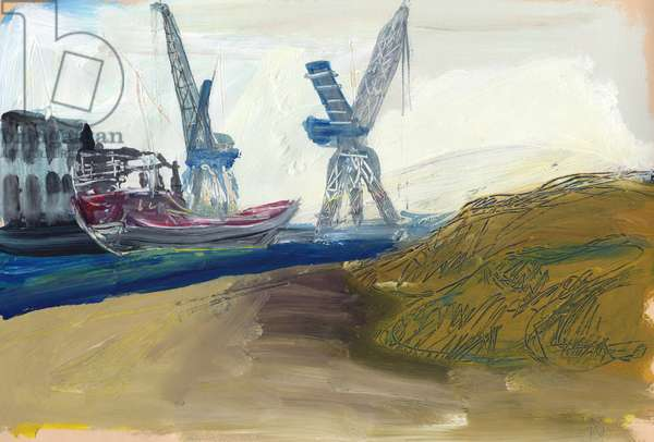 Ship with Tower Cranes, 1990 (acrylic on paper)