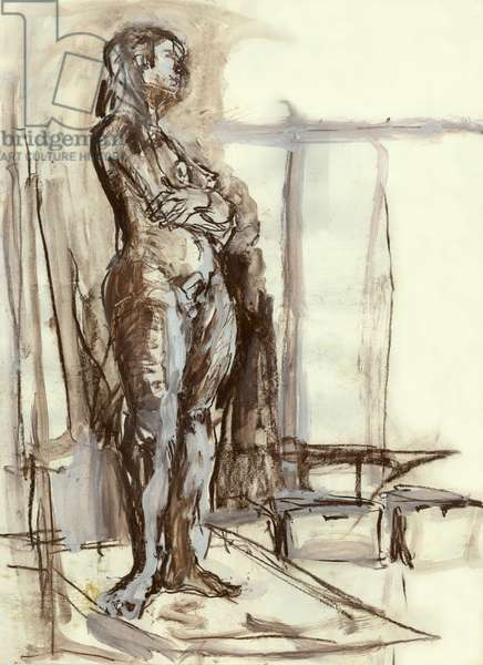 Woman standing, 1992 (acrylic paint, brown & white chalk on paper)