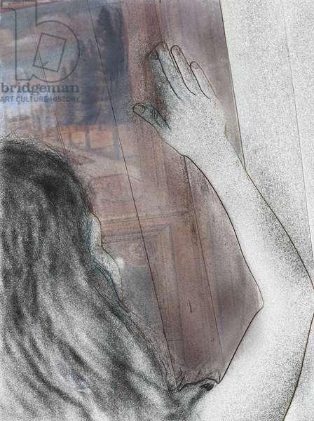 Girl Secret Door, 2013 (digital drawing with w/c on paper)