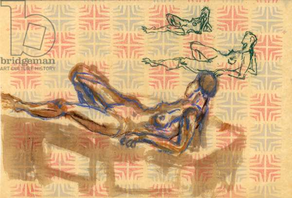 Relaxing, 1992 (chalk & w/c on wrapping paper)