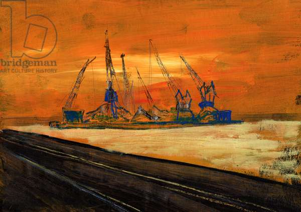 Evening of Tower Cranes, 1990 (acrylic & black chalk on paper)