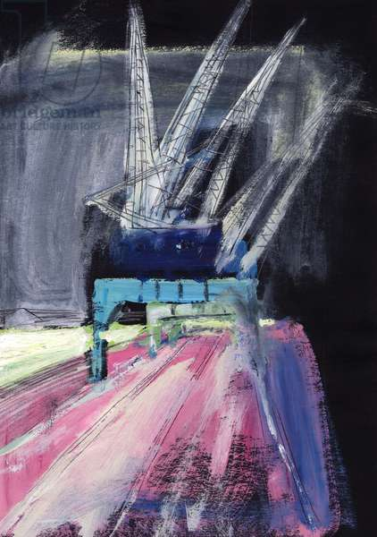 Rail Crane, 1990 (acrylic & pencil on paper)