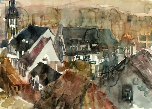 Top Roofs, 1990 (w/c on paper)