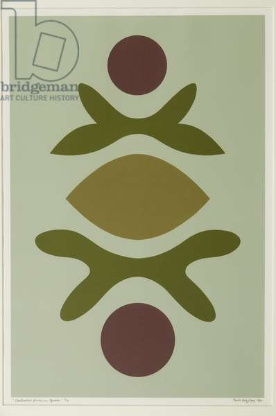Contrasted Forms on Light Green, 1976 (screenprint)