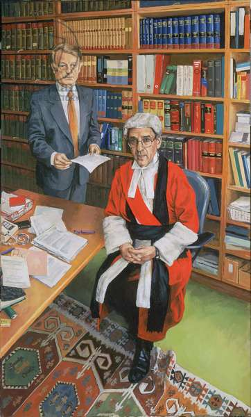 Mr Justice Moses with his Clerk John Furey, 2000 (oil on canvas)