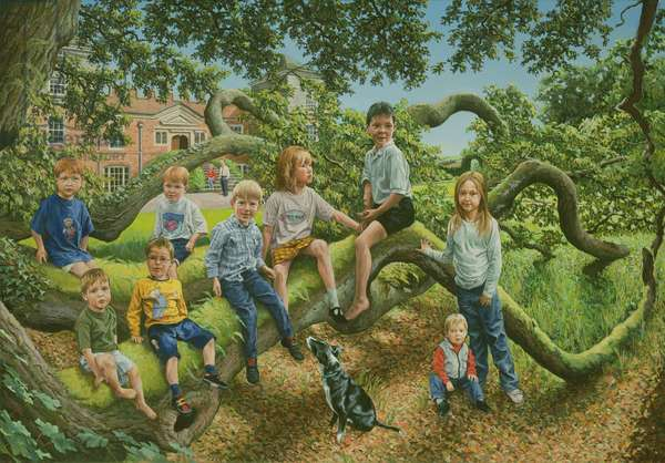 Lord and Lady Boyd and their Grandchildren, 2001 (oil on canvas)