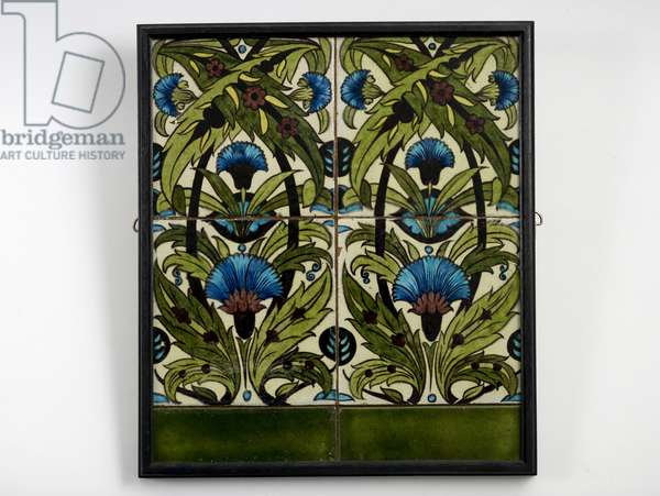 Panel of six tiles, four painted with 'Persian' carnations in blue and turquoise, interlacing stems and foliage, with two green border tiles (ceramic)