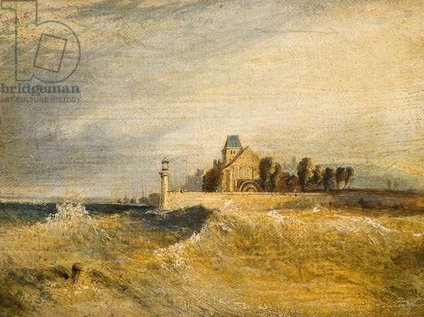 Coast Scene with Pier (oil on panel)
