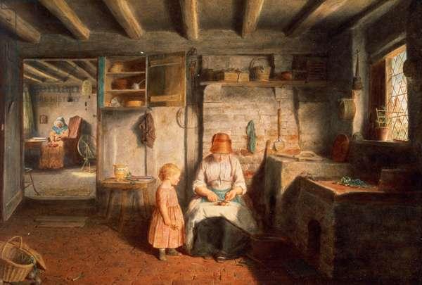 Preparing for dinner, 1854 (panel)