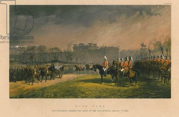 Hyde Park - the princess passing the lines of the volunteers, March 7th 1863, 1863 (colour litho)