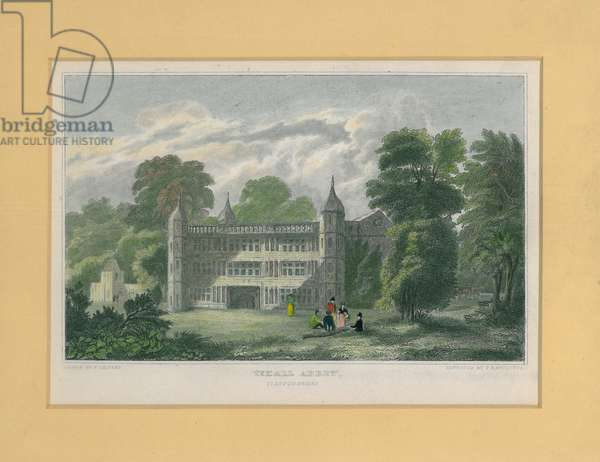 Tixall Abbey, Staffordshire (coloured engraving)