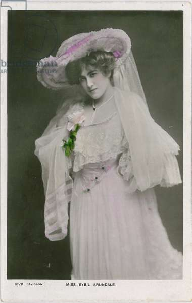 Celebrities of the Stage: Miss Sybil Arundale, c.1903-08 (coloured photo)