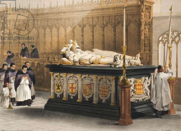 Tomb of De Lalaing Hoogstragt, Sheet 3 from 'Haghe's Portfolio of Sketches: Belgium, Germany', c.1845-55 (colour litho)